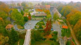 Vue aérienne de Kwidzyn Paysage de ville vu de l'air avec le château, le théâtre, et l'horizon 2019 photo stock