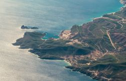 Vue aérienne de la côte méditerranéenne en Turquie du sud Photographie stock