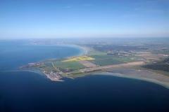 Vue aérienne de la côte ouest de Bornholm Photographie stock