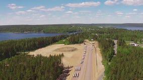 Vue aérienne de la construction de routes banque de vidéos