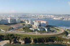 Vue aérienne de La Coruna Photographie stock libre de droits