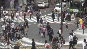 Vue aérienne de la foule du passage pour piétons dans l'intersection Tokyo de Shibuya banque de vidéos