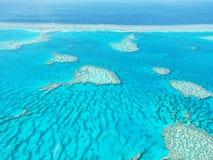 Vue aérienne de la Grande barrière de corail dans les Pentecôtes Image libre de droits