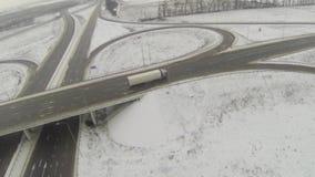 Vue aérienne de la jonction circulaire d'autoroute banque de vidéos