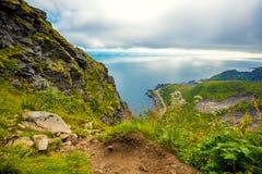 Vue aérienne de la montagne du fjord image stock