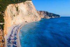 Vue aérienne de la plage célèbre de Porto Katsiki sur l'île o images libres de droits