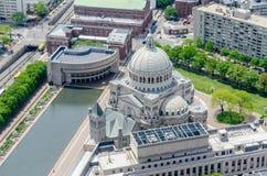 Vue aérienne de la première église Image libre de droits