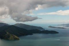 Vue aérienne de la Reine Charlotte Sound Photos libres de droits
