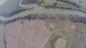 Vue aérienne de la rivière d'Etowah au site historique de monticule d'Etowah Photo stock
