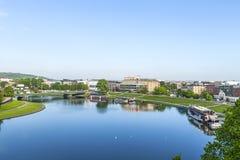 Vue aérienne de la rivière la Vistule à Cracovie Image stock