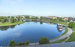 Vue aérienne de la rivière la Vistule à Cracovie photographie stock