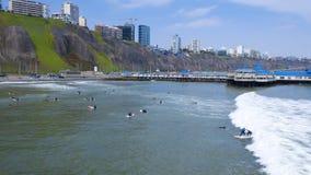 Vue a?rienne de La Rosa Nautica par la mer en plage de Makaha image libre de droits