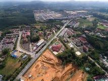 Vue aérienne de la route de musang de gua de krai de Kuala située dans le krai de Kuala, Kelantan, Malaisie photo stock