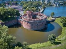 Vue aérienne de la tour de Dohna, maintenant le musée de l'ambre à Kaliningrad, Russie Image libre de droits
