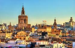 Vue aérienne de la vieille ville à Valence de porte de Serranos - Espagne Photographie stock