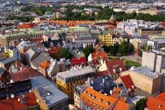 Vue aérienne de la vieille ville (Riga, Lettonie) images libres de droits