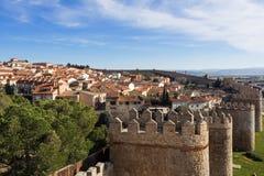 Vue aérienne de la ville Avila avec le mur de ville, Espagne Image libre de droits