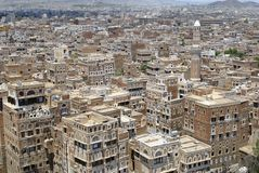 Vue aérienne de la ville de Sanaa, Sanaa, Yémen images stock