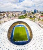 Vue aérienne de la ville du Stade Olympique et de Kiev l'ukraine Image stock