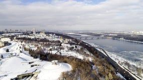 Vue aérienne de la ville de Kiev, Ukraine Rivière de Dnieper avec des ponts Photo stock