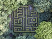 Vue aérienne de labyrinthe en parc de château d'Anholt Images stock