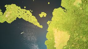 Vue aérienne de lac dans Siem Reap, Cambodge, avec le bateau de pêcheur images libres de droits