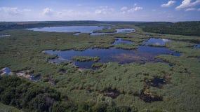 Vue aérienne de lac Srebarna près de Silistra, Bulgarie image libre de droits