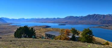 Vue aérienne de lac Tekapo de bâti John Observatory à Cantorbéry Photographie stock