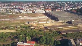 Vue aérienne de Leipzig Hauptbahnhof ou de gare ferroviaire centrale de ville, Allemagne images stock