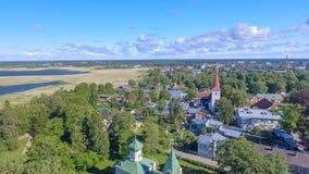 Vue aérienne de littoral de Haapsalu de bourdon, Estonie Images stock