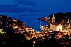 Vue aérienne de losinj de Veli à la soirée Photographie stock libre de droits