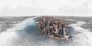 Vue aérienne de Lower Manhattan New York City illustration stock