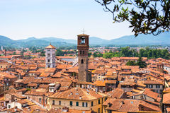 Vue aérienne de Lucques, Italie Photographie stock libre de droits