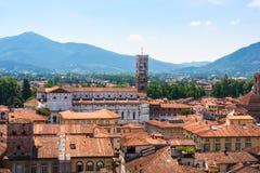 Vue aérienne de Lucques, Italie Image libre de droits