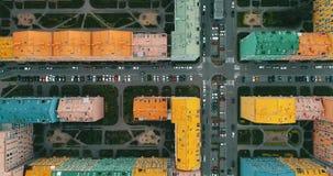 Vue aérienne de maisons colorées dans Kyiv, Ukraine banque de vidéos