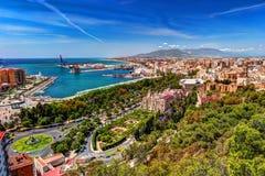 Vue aérienne de Malaga prise du château de Gibralfaro Photographie stock