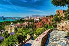 Vue aérienne de Malaga prise du château de Gibralfaro Images libres de droits
