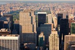 Vue aérienne de Manhattan et de Central Park, New York City image stock