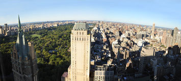 Vue aérienne de Manhattan nordique de cinquante-neuvième rue Photographie stock libre de droits