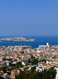 Vue aérienne de Marseille France et si château Image libre de droits