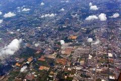 Vue aérienne de matin des banlieues de Bangkok, Thaïlande Photos stock