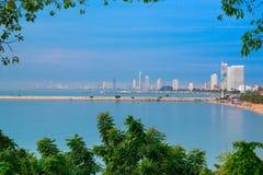 Vue aérienne de mer et de ville, Pattaya, Thaïlande Images stock