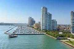 Vue aérienne de Miami Beach du sud Image stock