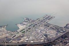 Vue aérienne de modèle d'aéroport et de piste de San Francisco Photo libre de droits