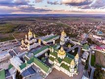 Vue aérienne de monastère de Pochaev, église orthodoxe, Pochayiv Lavra, Ukraine image stock
