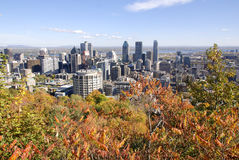 : Vue aérienne de Montréal du centre Images libres de droits