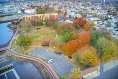 Vue aérienne de New Jersey de Gloucester de ville de façade d'une rivière du Delaware photographie stock libre de droits