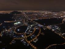 Vue aérienne de nuit de ville images libres de droits