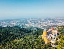 Vue aérienne de palais Sintra, Portugal de Pena Photos stock