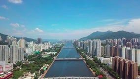 Vue aérienne de panarama sur Shatin, Tai Wai, Shing Mun River Avant ouragan Mangkhut venez à Hong Kong clips vidéos
